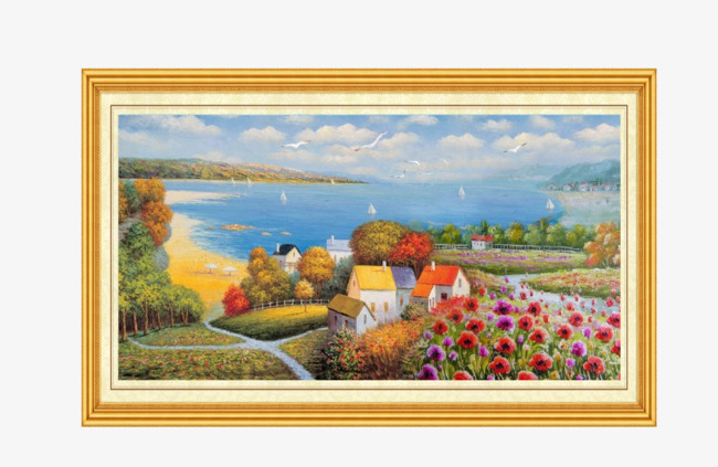 Art clipart oil painting. Landscape material seaside scenery