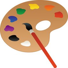 Art clipart paint. Palette and brush line