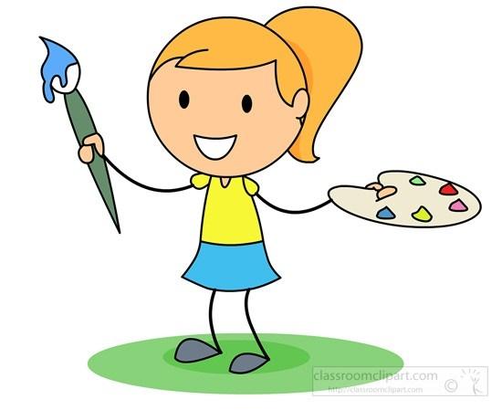 Girl painting animehana com. Artist clipart painter