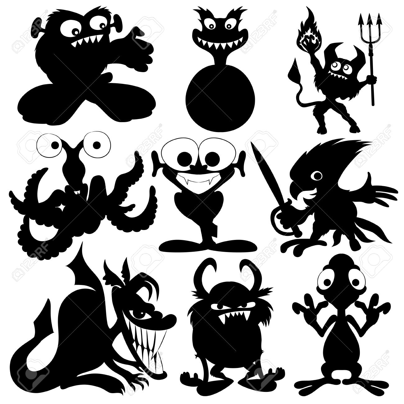 Monster pencil and in. Art clipart silhouette