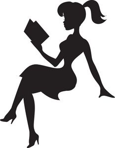 Reading image silhouette of. Lady clipart