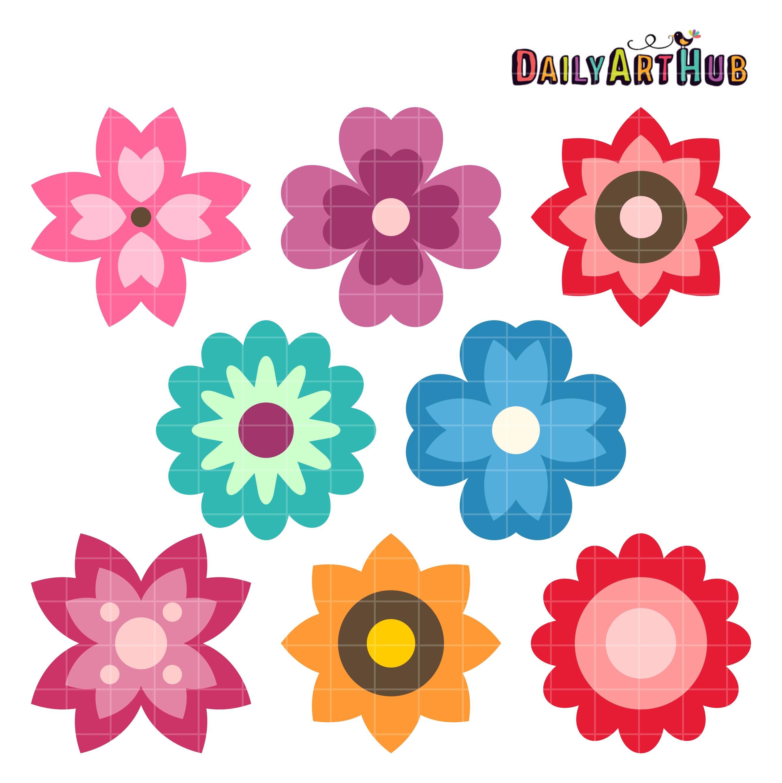 Flower clipart simple. Spring flowers clip art