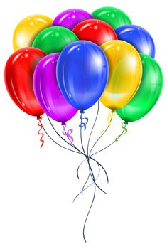 Balloons with confetti png. Art clipart transparent