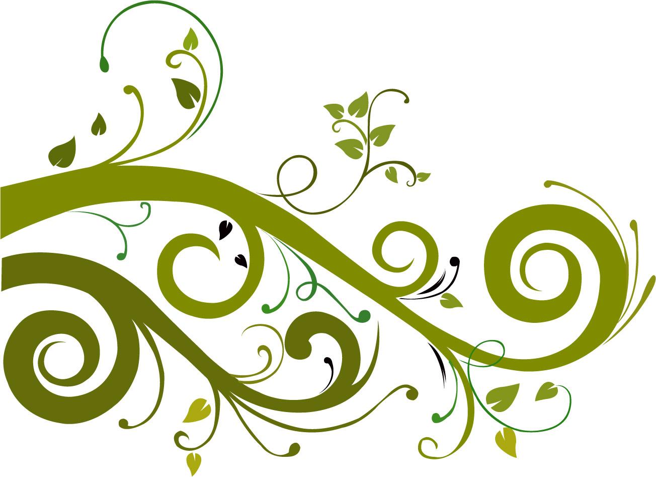 Clipart designs green. Free floral vector art