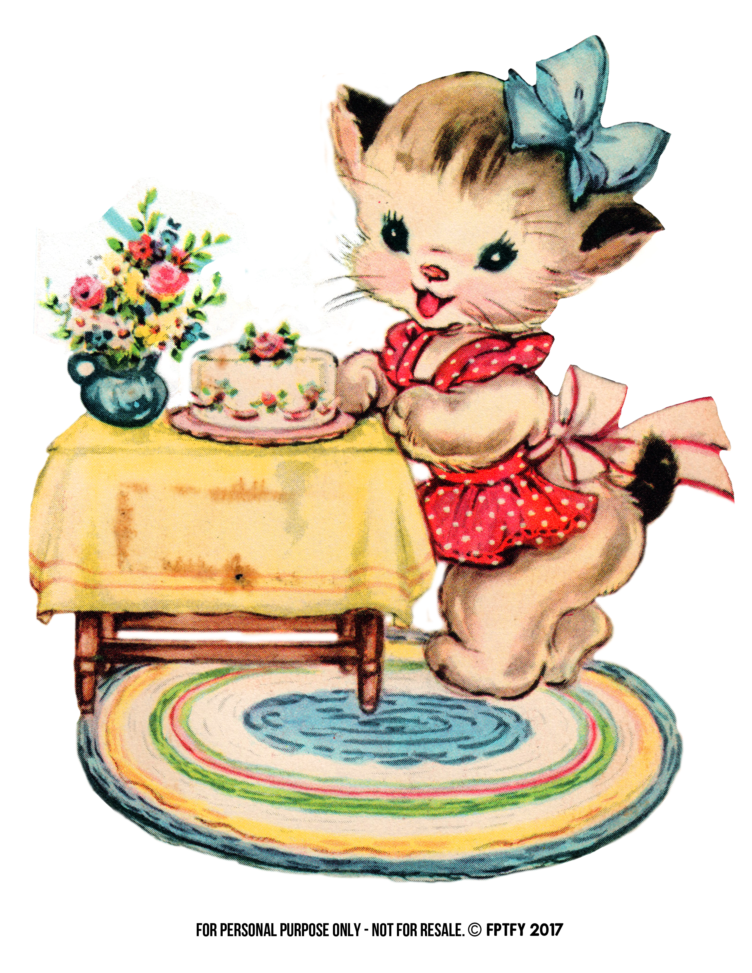 Free kitty cat clip. Cats clipart vintage