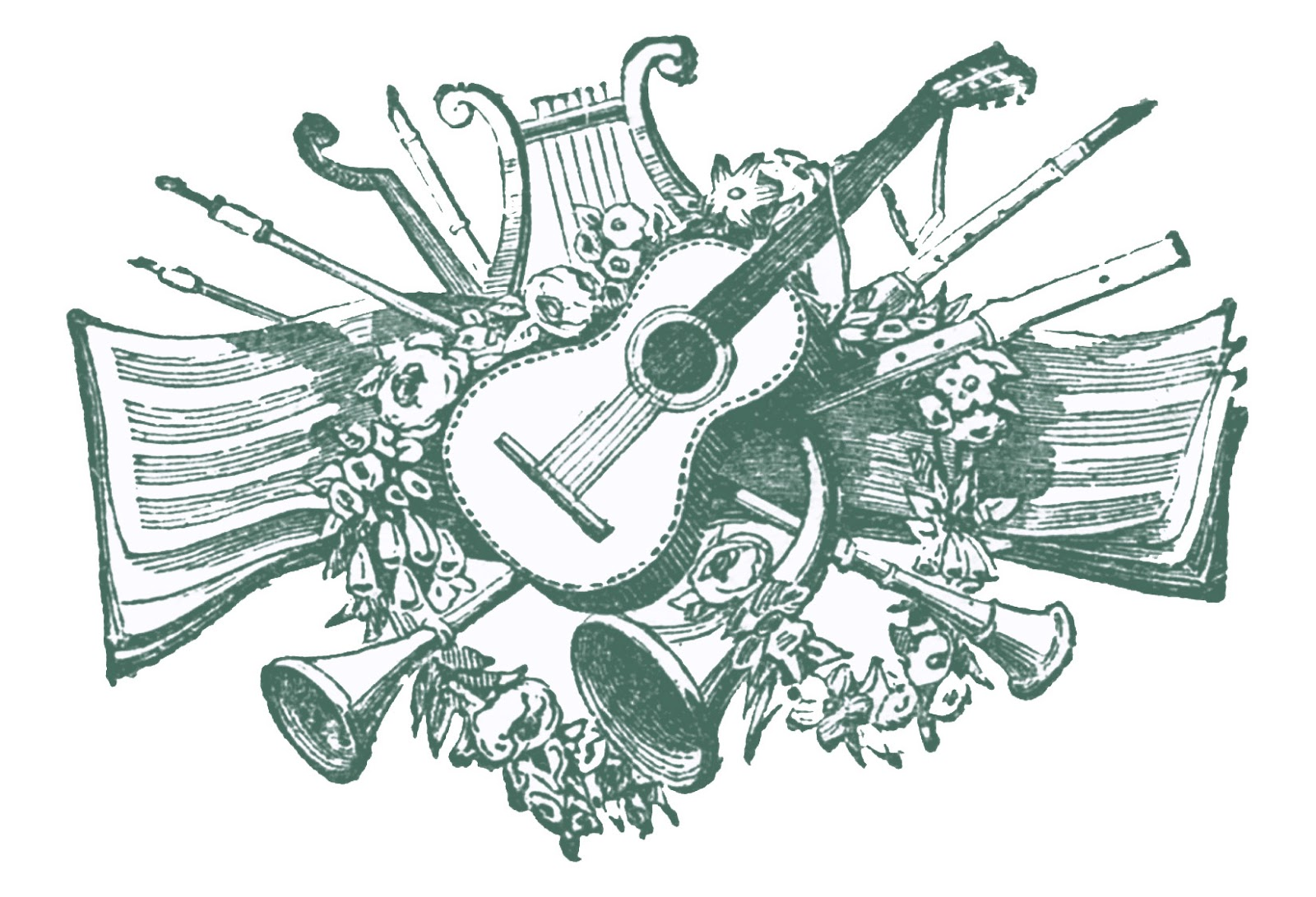 Vintage clip art antique. Musician clipart retro music