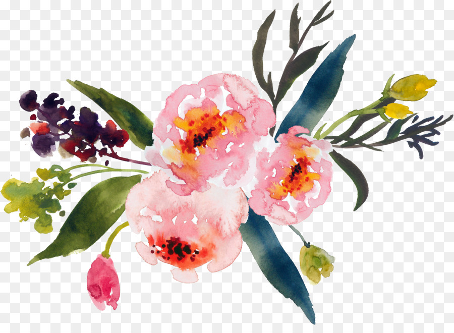 Flower painting clip art. Bouquet clipart watercolor