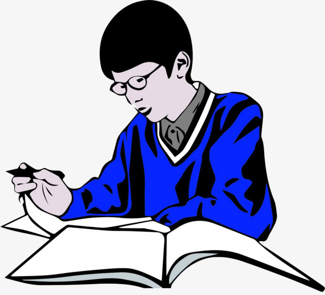 Reading and blue boy. Art clipart writing material