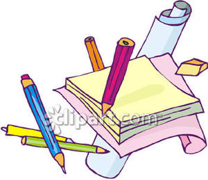 Drawing supplies royalty free. Art clipart writing material