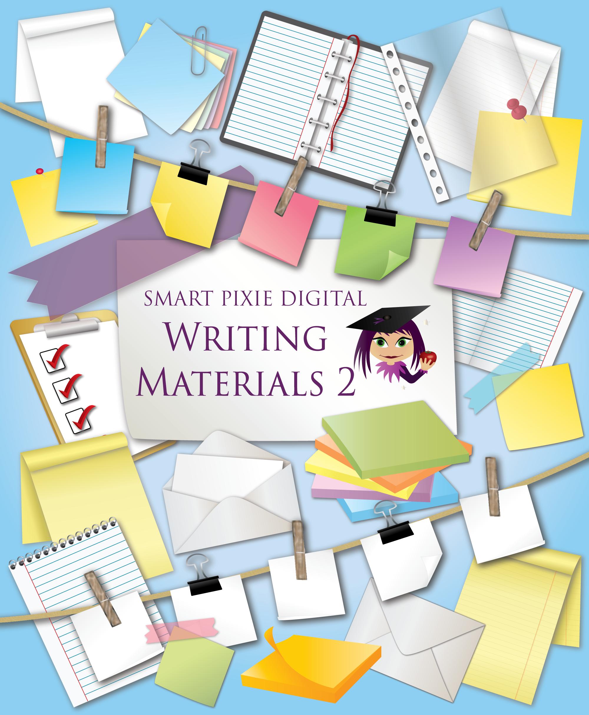 Clip materials for teachers. Art clipart writing material