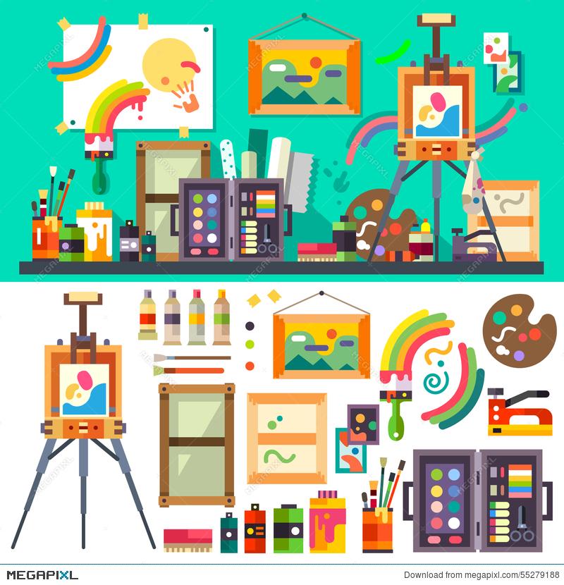 Artist clipart art material. Studio tools for creativity