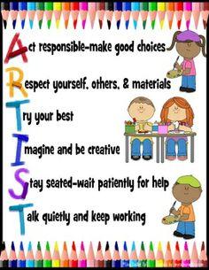 Artist clipart art room. Rules poster artroom classroommanagement
