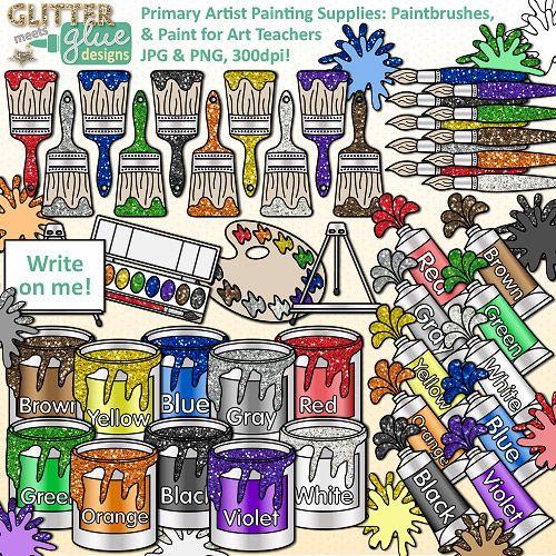 Artist clipart art room. Painting supplies clip color