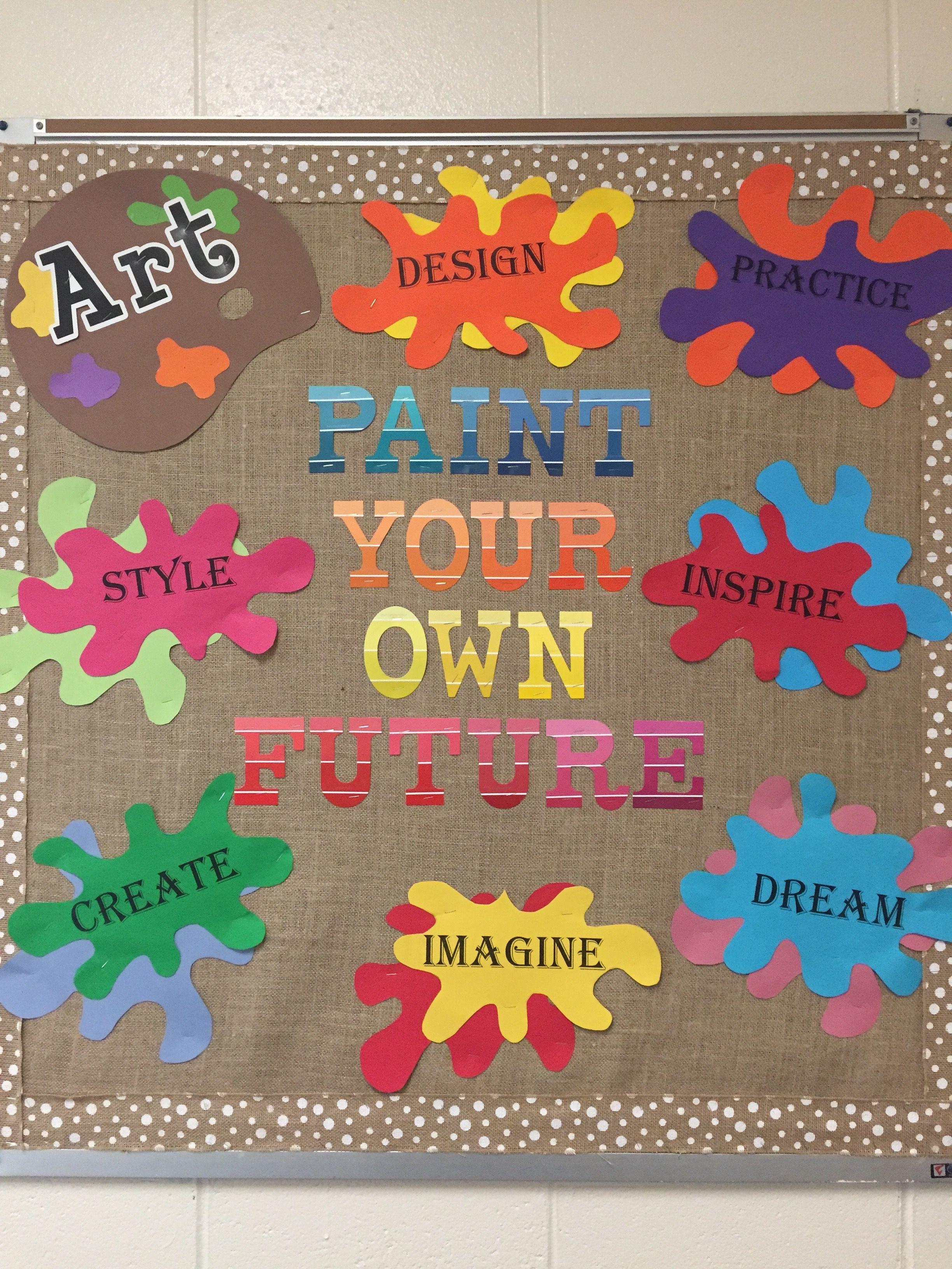 Artistic bulletin board back. Artist clipart art room