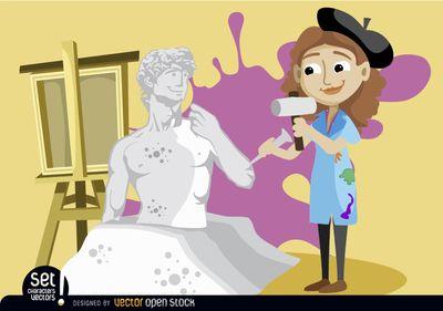 Woman sculpting michelangelo s. Artist clipart art studio