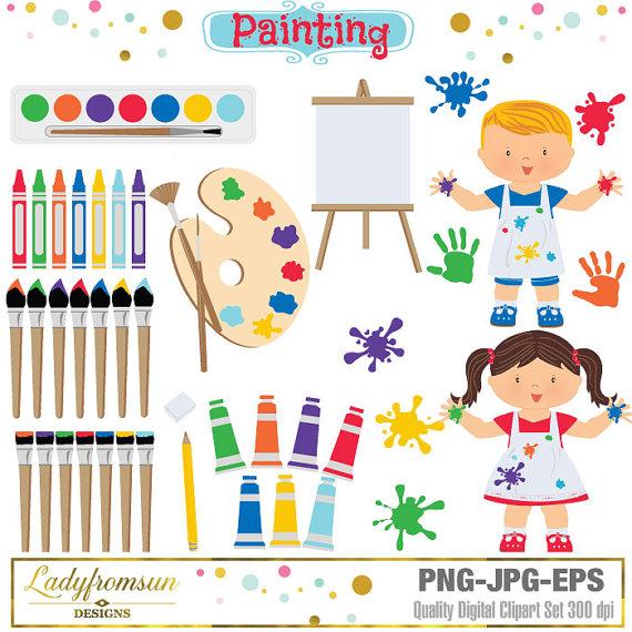 Artist clipart art studio. Painting set kindergarten kids