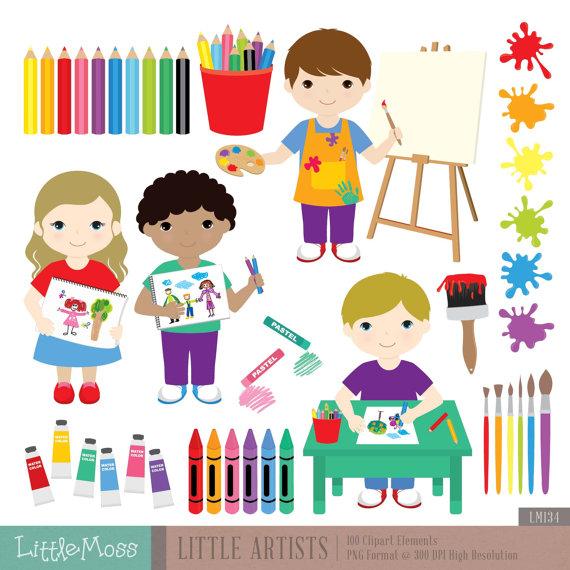 Little artists digital party. Artist clipart art studio