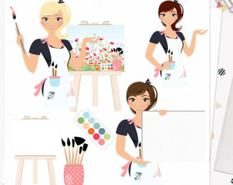 Artist clipart artistic person. Clat etsy woman character