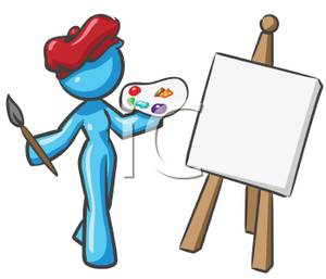 A female doing some. Artist clipart artwork