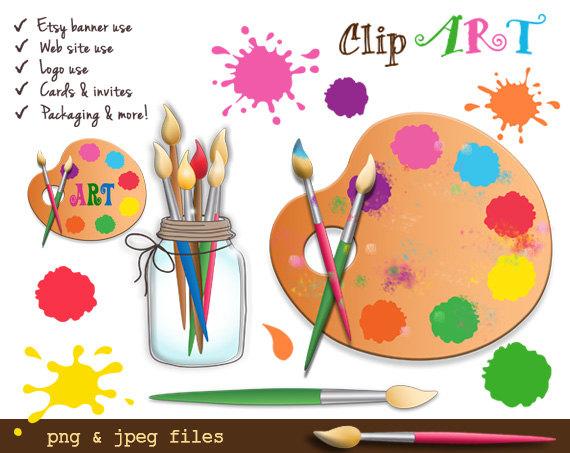 Digital paint splashes commercial. Artist clipart birthday