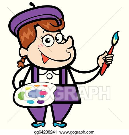 Vector with paintbrush and. Artist clipart cartoon