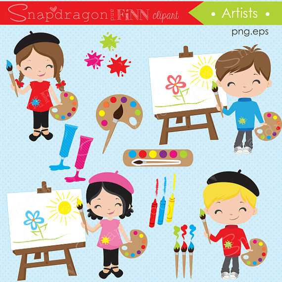 Artist party classroom painting. Art clipart artwork