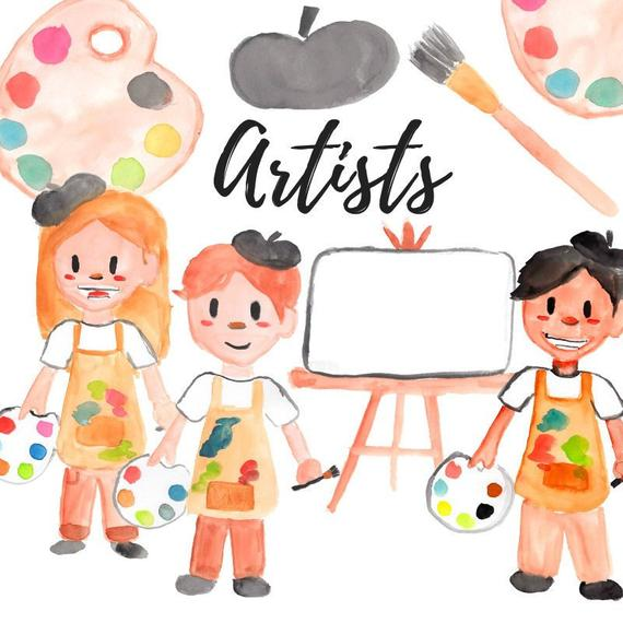 Artist clipart child artist. Watercolor kids people painting