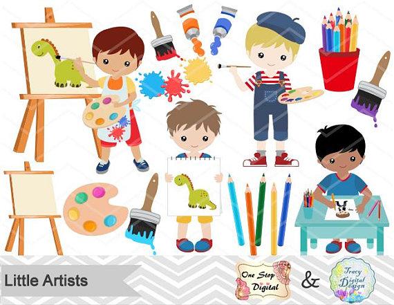 Little artists digital boy. Artist clipart child artist