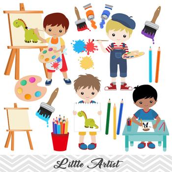Digital little boy clip. Artist clipart child artist