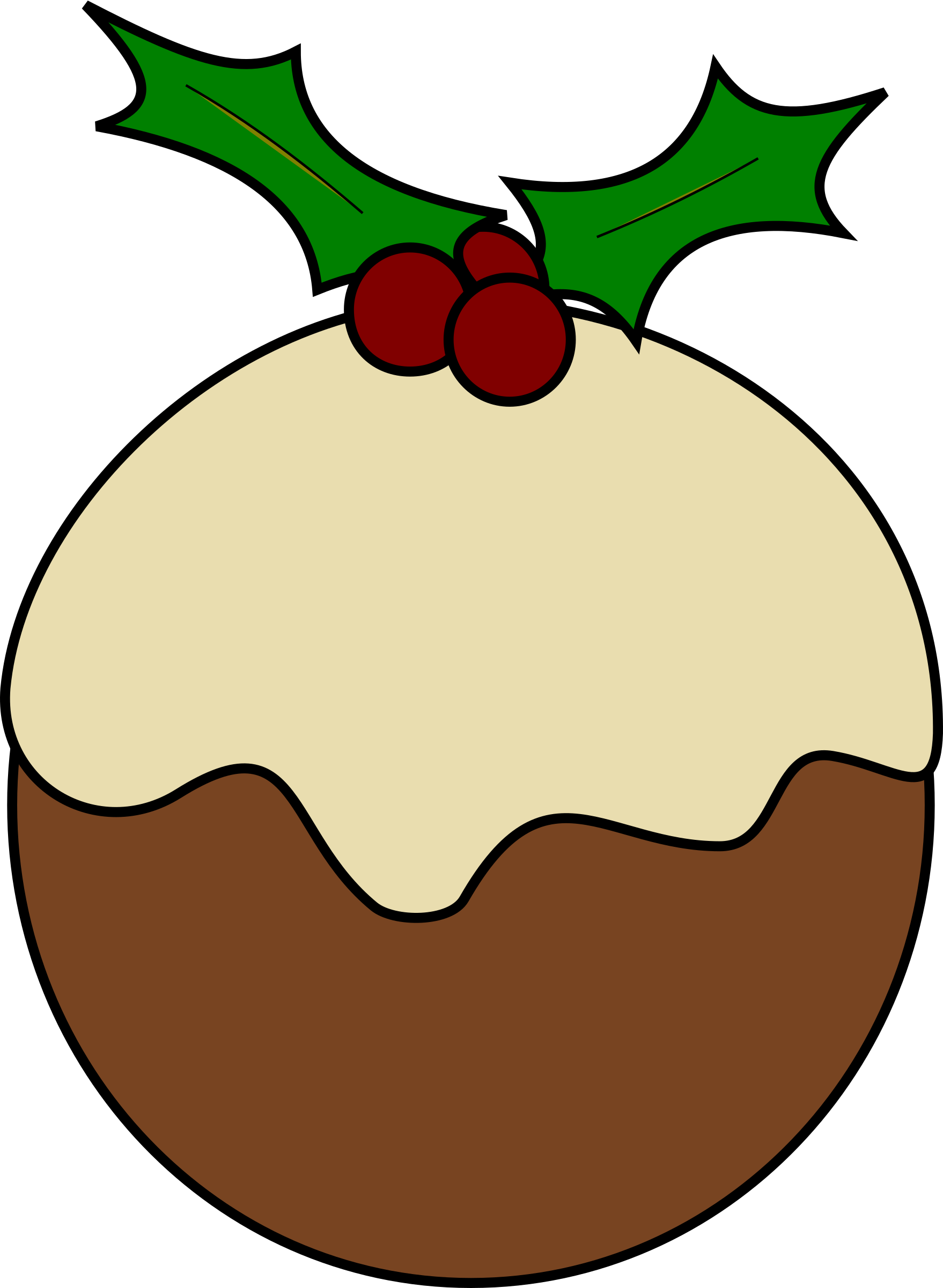 Christmas pudding big image. Pear clipart line drawing