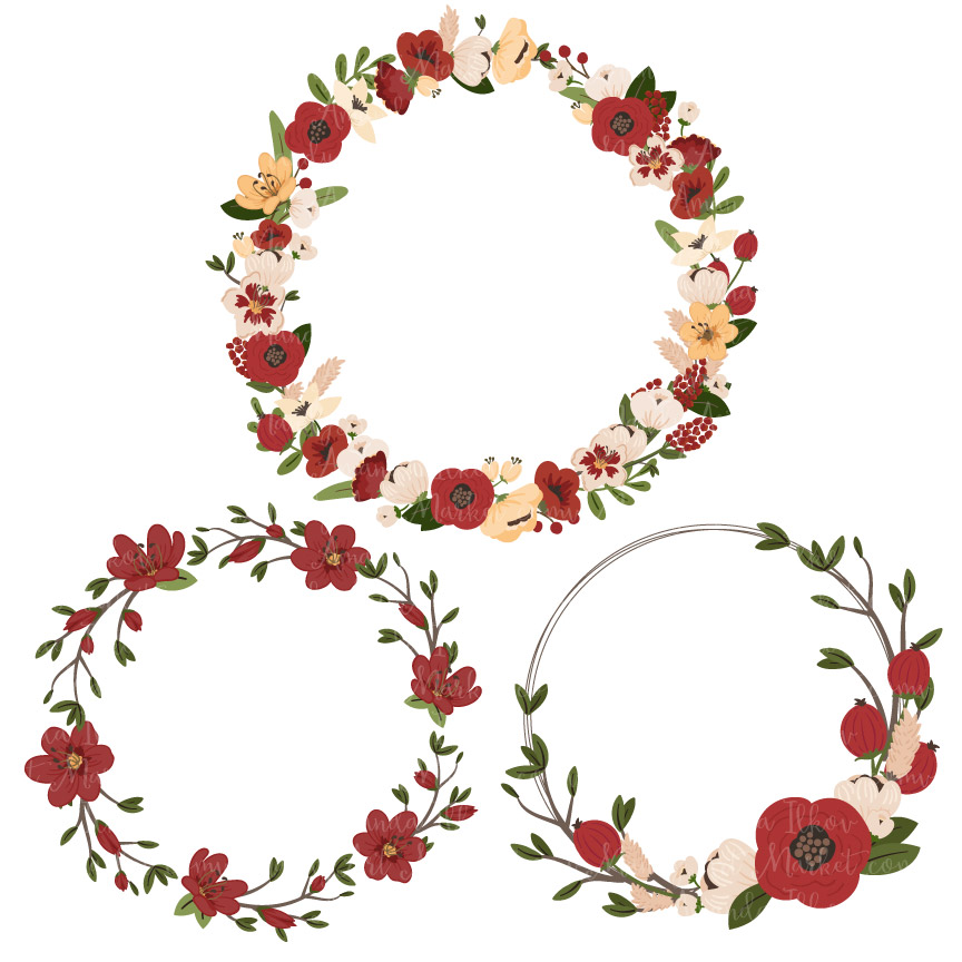 Christmas jenny pretty vectors. Floral clipart wreath