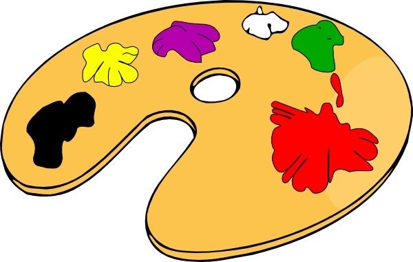 Painter color clip art. Artist clipart colour palette