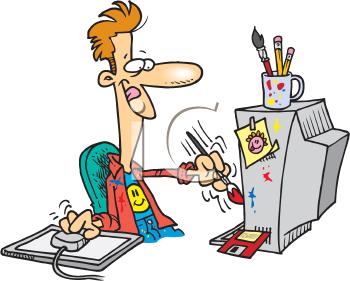 Royalty free cartoon clip. Artist clipart computer