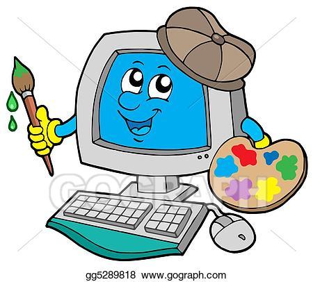 Stock illustration cartoon illustrations. Artist clipart computer