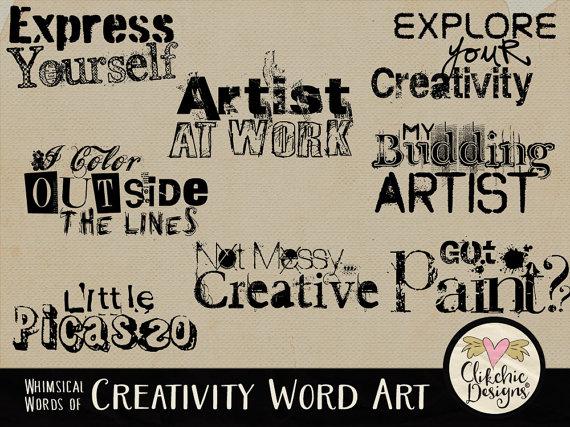 Craft word art clip. Artist clipart creativity