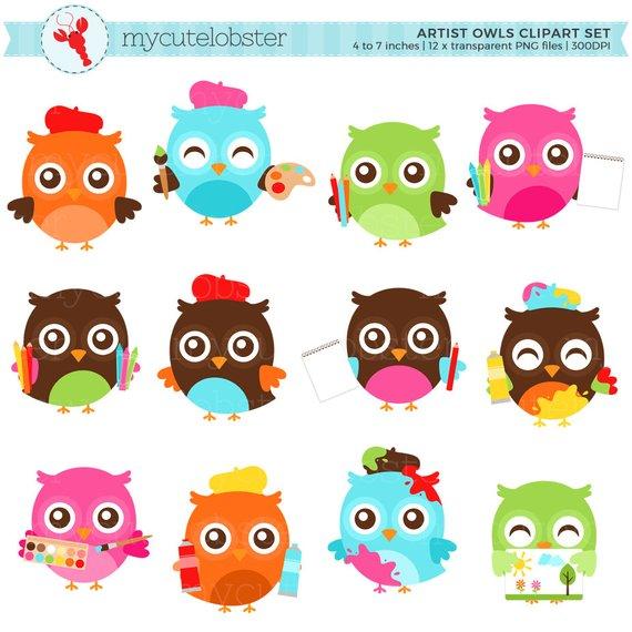 Owls set clip art. Artist clipart cute