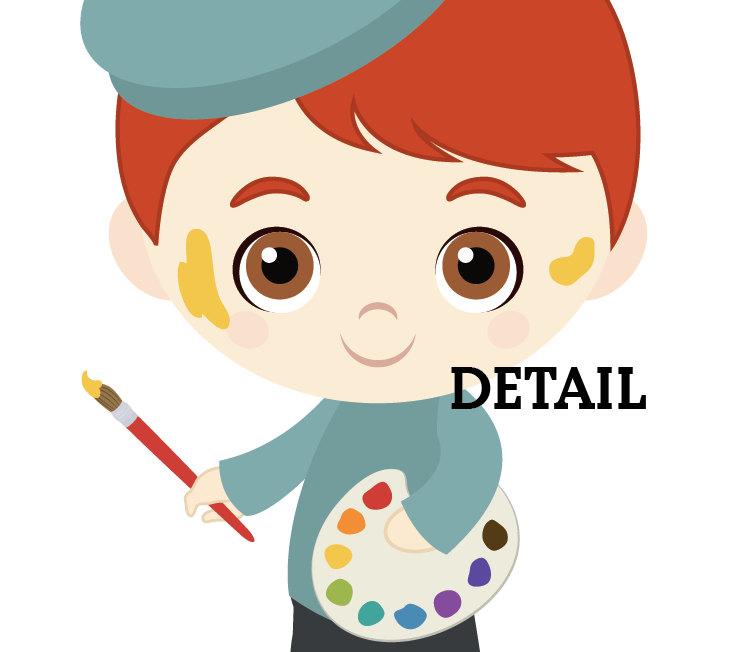 Little boy girl artists. Artist clipart cute