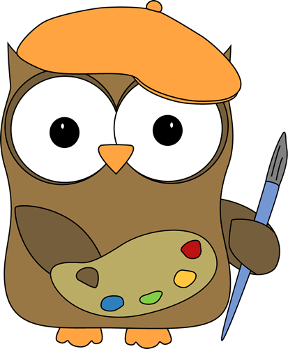 Artist clipart cute. Owl french painter clip