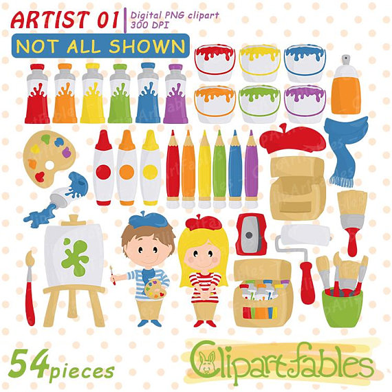 Artist clipart cute. Clip art painting colorful