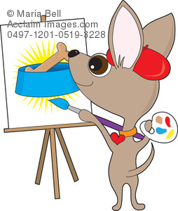 Chihuahua painting a picture. Artist clipart dog