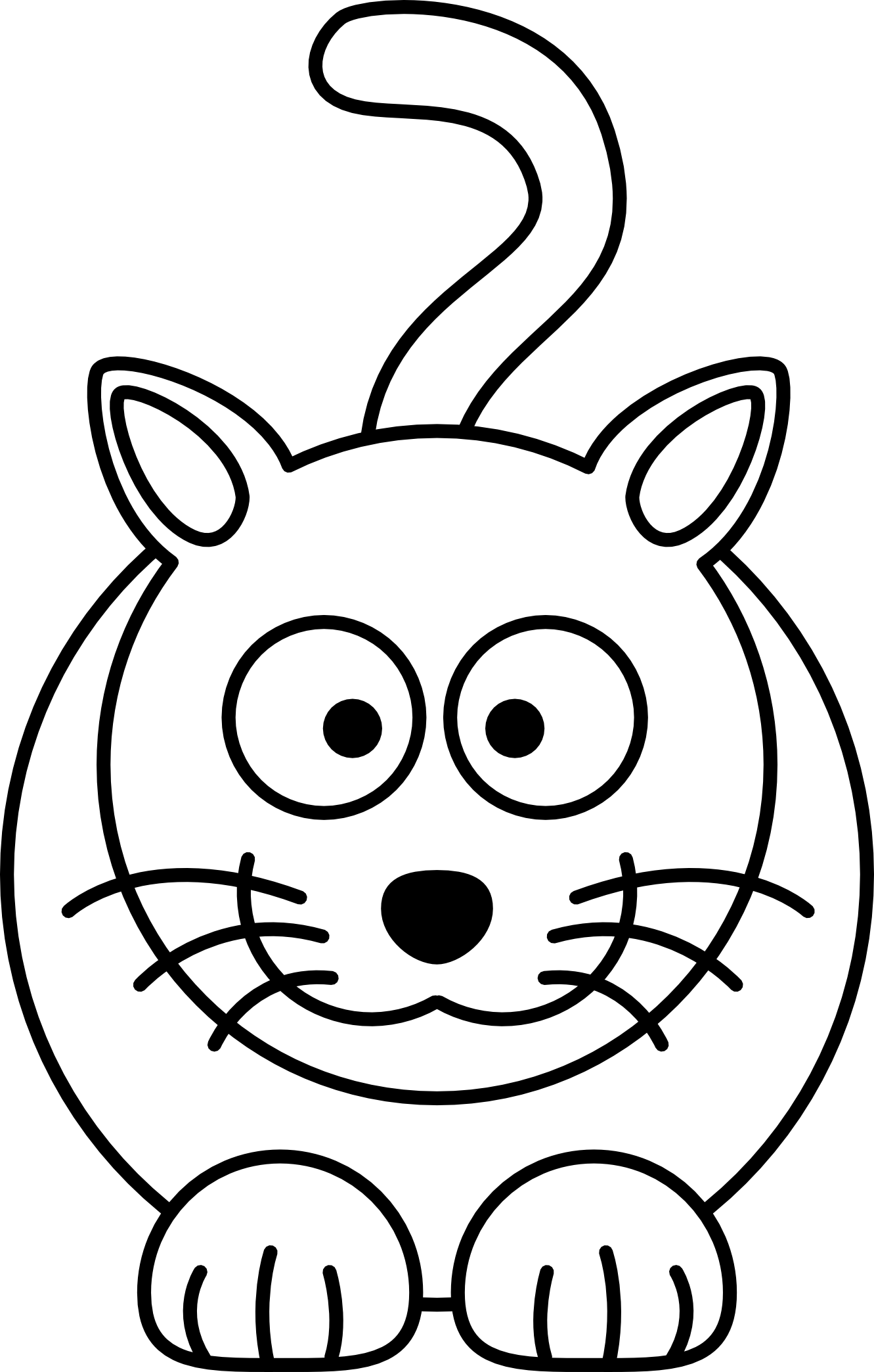 Nest clipart simple. Line drawing of cat