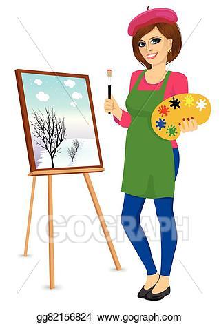 Vector painter holding palette. Artist clipart female artist