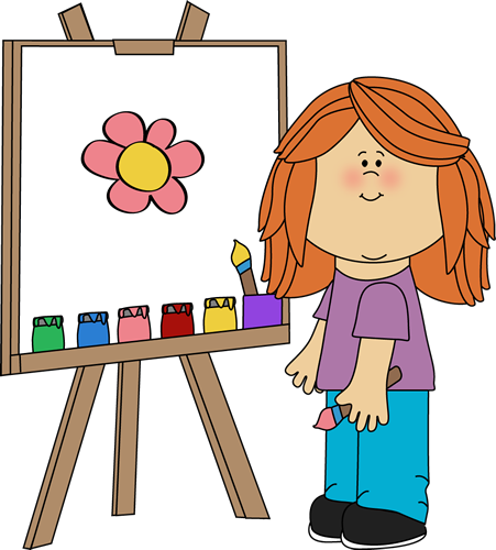 Art clipart art class. Clip images girl painting