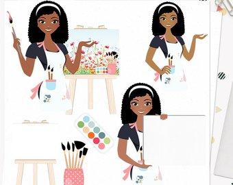 Artist clipart female artist. Girl etsy woman character