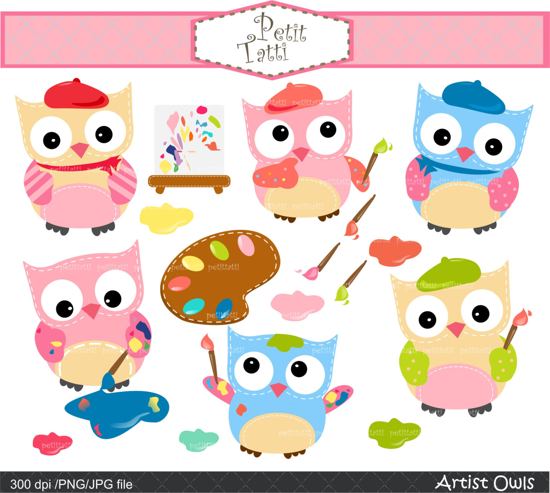 On sale owls clip. Artist clipart girl artist