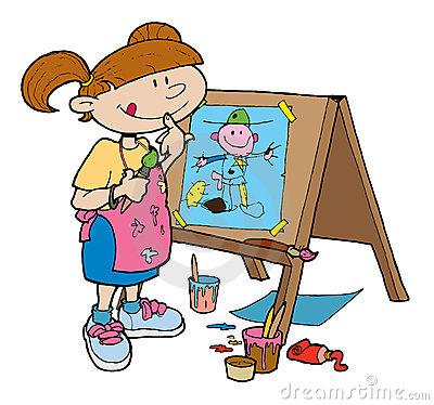 Artist clipart girl artist. Easle art