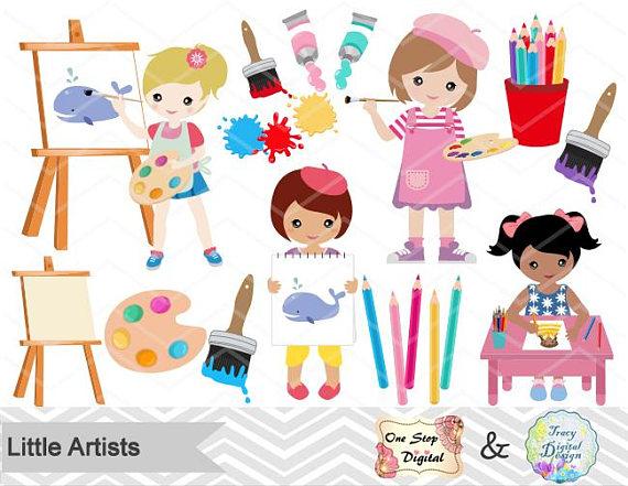 Digital little clip art. Artist clipart girl artist