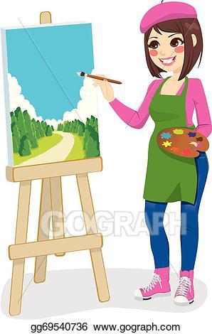 Eps painting park vector. Artist clipart illustration