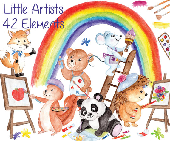 Artist clipart image clip art. Watercolor animals colors back