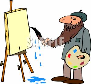 A colorful cartoon of. Artist clipart male artist